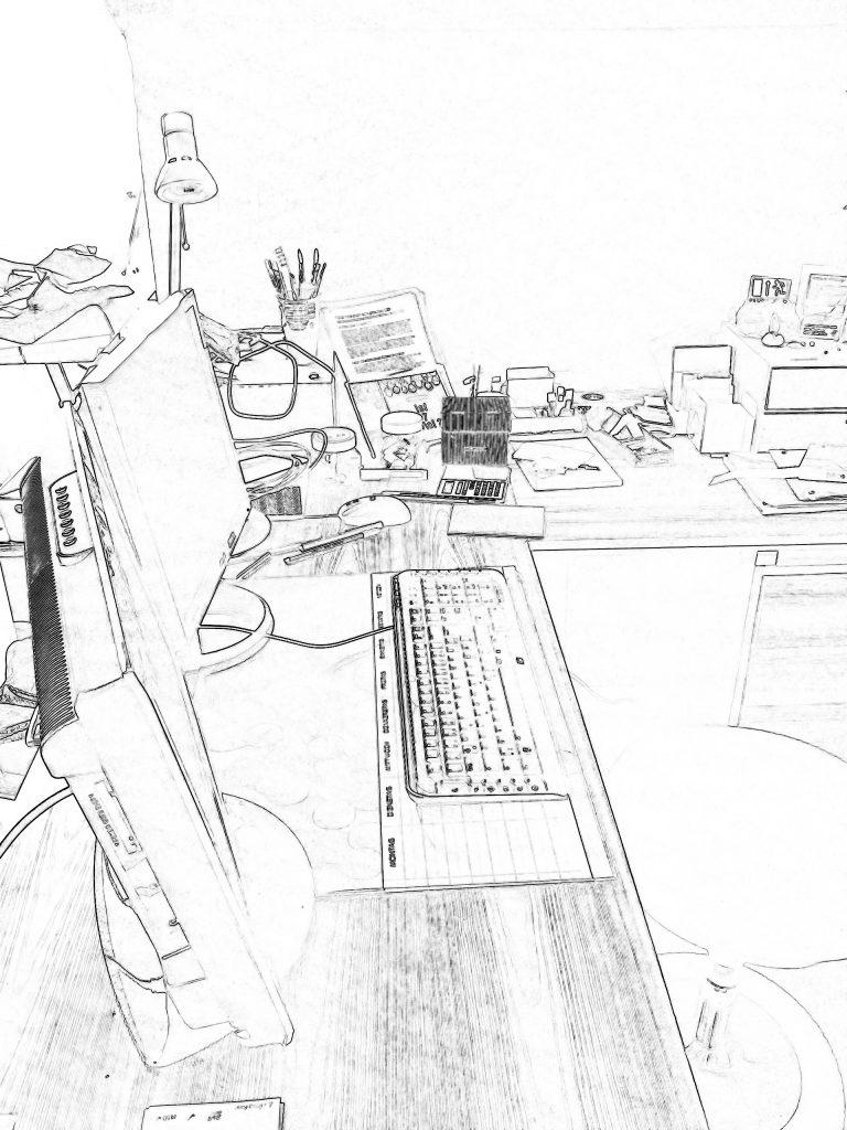 Ein skizzierter Arbeitsplatz zeigt die Arbeitssituation zu hause.
